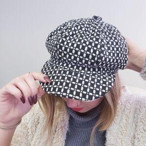 NEWSBOY CAP - Black and White Newsboy Tweed Hat